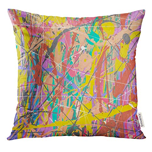 Throw Pillow Cover Fragment Abstract Modern Painting with Expressive Splashes of Paint on Cardboard Old Chapped and Dusty Decorative Pillow Case Home Decor Square 18x18 Inches Pillowcase