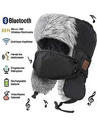 HANPURE Fliegermützen, Winter Mütze mit Bluetooth, Fellmütze eingebauten Stereo-Lautsprecher für Outdoor-Sportarten, Skifahren, Laufen, Skaten, Walking, Thanksgiving-Geschenke