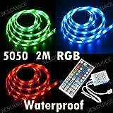2 m 5050 SMD RGB LED Lichtstreifen Lichterkette wasserdicht mit IR Fernbedienung Steuerung LD84