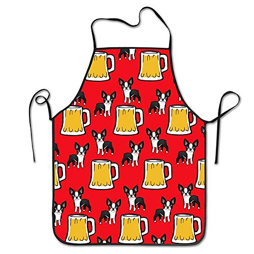 Eileen Powell Women Kids, Fashion Stain-Proof und Oil-Proof Frohes Neues Jahr Boston Terrier with Beer Aprons