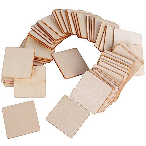 DEOMOR 50pcs 4cm Madera Manualidades Rebanadas Cuadrados Pintar Regalos DIY Posavasos Artesanías Bricolaje Material Modelo de Construcción
