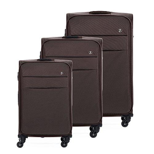 FERGÉ Conjunto de tres maletas Calais - 3 maletas blandas con sistema trolley marrón