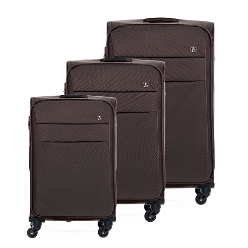 FERGÉ® Dreier Kofferset leicht Calais Trolley-Stoffkoffer Weichschale | 3 Trolley-Weichschalenkoffer mit 4 Komfortrollen (360°) | Koffer café | PREMIUM-QUALITÄT (Nylon-koffer)