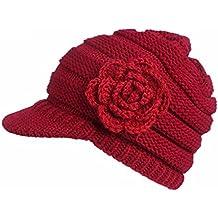 DEELIN Mujer Mujeres Invierno Sombrero De Tejer Boinas Turbante Borde Sombrero Gorra Gorro De Flor Sombrero