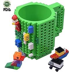 Creativo Lego Mug, Costruire sul mattone Tazza di caffè, Tazza da regalo per bambini e adulti (verde)