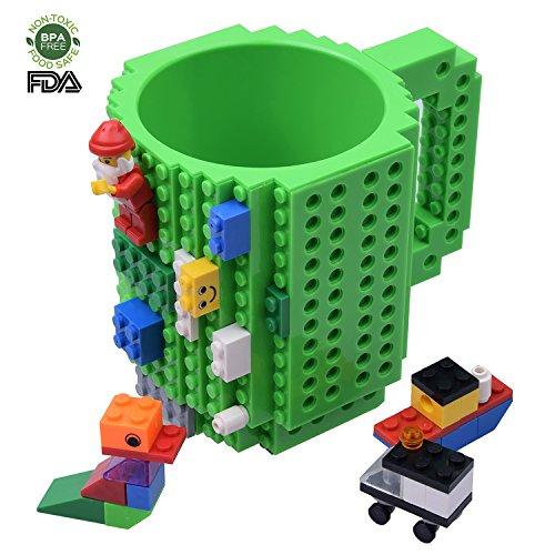 , Build on Brick Mug, Pixelblocks Kaffeetasse, Geschenk Becher für Kinder und Erwachsene, Von Kyonne TM (Grün) (Kinder-tee-tassen)