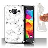 Stuff4 Coque Gel TPU de Coque pour Samsung Galaxy Core Prime/Blanc Design/Marbre...