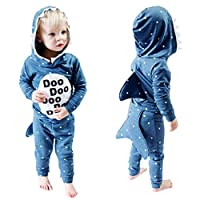 Infant Toddler Tops MS-SM Baby Boys Girls Cartoon Animals Stereo shark Hooded Long Sleeve Sweatshirt Coat Outfits 1Pc for 1Y-5Y (Blue, 2-3 Years)