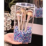 AIYoo Organizer Makeup Brush Holder Trasparente Make up Brush Holder plastica Antipolvere Cosmetici stoccaggio Display Box No Pearl, Store 15 ~ 20 pennelli Colorful Pearl with Holder