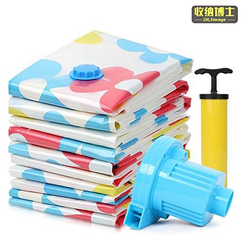 Vakuum-Platzsparer Vakuum - Komprimierte Tasche Eingang Sack Kleidung Tasche Psychiater Tasche (4 Große 4 Power Pump Handpumpe)