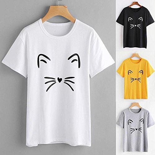 VENMO Camisetas Mujer,Tops Mujer,Camisas Mujer,Blusas de Mujer,Moda Camiseta de Manga Corta de Gato Impreso Mujer,Mujeres Causal O culleo Blusa Tops Camisetas (Amarillo, S)