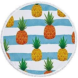 Mode arco iris Piña Impresión redondas Toallas con borlas refrigeración Verano Playa roundie tropicales Piña India Mandala Yoga Picnic Matte pared häng Extremos Mantel decoración, Pattern4, 59*59in