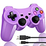 Wireless Bluetooth Game Romote Controller mit Double Shock Bonus kostenloses Ladekabel für ps3 Playstation 3 Controller(Lila)