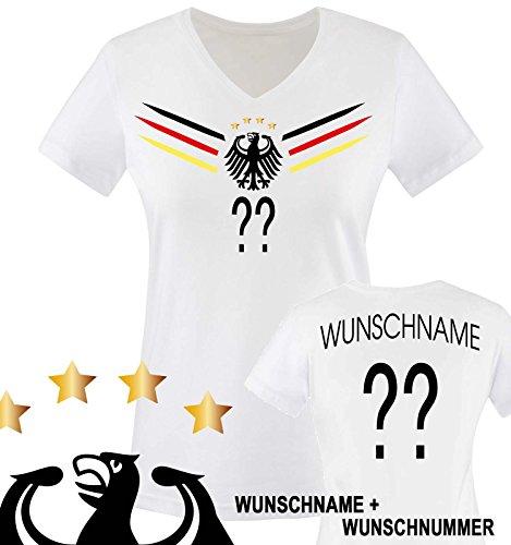 Comedy Shirts - DEUTSCHLAND WM 2014 - WUNSCH Damen V-Neck T-Shirt - Weiss / Schwarz-Rot-Gelb Gr. M