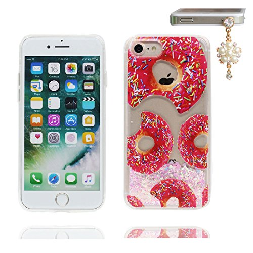 "iPhone 7 Coque, Lis Lily Skin Hard Clear étui iPhone 7, Design Glitter Bling Sparkles Shinny Flowing Apple iPhone 7 Case Cover 4.7"", résistant aux chocs et Bouchon anti-poussière Donuts beignet"