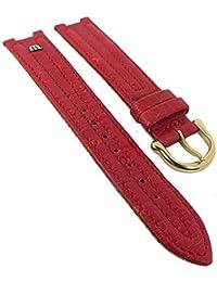 Maurice Lacroix für Calypso/Scala | Ersatzband Uhrenarmband Straußenleder rot matt 30035, Stegbreite:18mm, Schließe:Golden