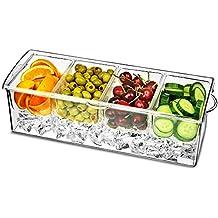 El hielo cóctel Decorar Dispensador | bar@drinkstuff 4 Compartimiento Dispensador de condimentos, refrigerada condimento servidor, refrigerada Dispensador de condimentos