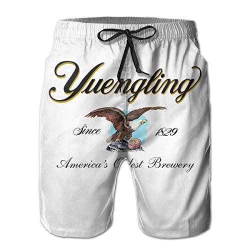 hunany Custom Art Men's Swim Trunks Beach Board Shorts with Pockets for Teen Boys - Yuengling and Sons Brewing Beer Development (Teen Boy Shorts)