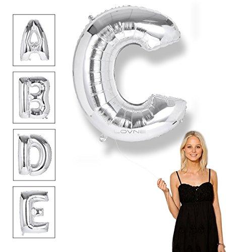40 Zoll Silber Alphabet A-Z Ballon Nummer 0-9 Luftballons Geburtstagsfeier Dekorationen Helium Folie Mylar Buchstaben Ballon (C)