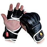 GranVela - Guanti da boxe MMA, guanti da boxe a mezze dita, con cinturino regolabile, per kickboxing, Muay Thai, adatti a mani di tutte le misure, G-BlackW