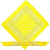 Boolavard Bandana Kopftuch Halstuch - gemustert: Paisley Muster - 100% Baumwolle! (Gelb)