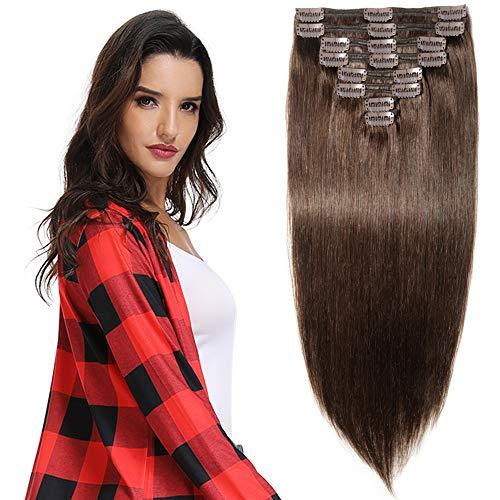 Extensions Echthaar Clip in Remy Haarverlängerung für komplette Haare 8 Tressen Doppelt Dicke 40cm-130g(#2 Dunkelbraun)