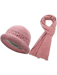 MERRYHE Señoras De Punto Bucket Hats Bufanda Establece Elástico De Lana  Gorro Bufandas Chal Caps con Forro De Lana para Invierno Cálido… 0c4bfaa7a37