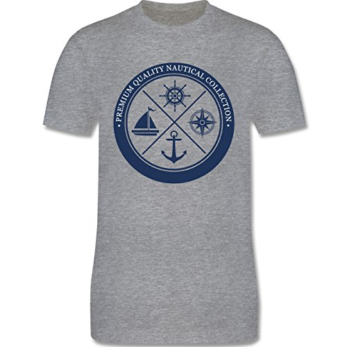 Shirtracer Schiffe - Premium Quality Nautical Collection Sailing - Herren T-Shirt Rundhals Grau Meliert