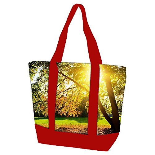 snoogg-sunrise-in-garden-22-heavy-duty-canvas-bag-with-shoulder-strap-zippered-top-closure-double-st