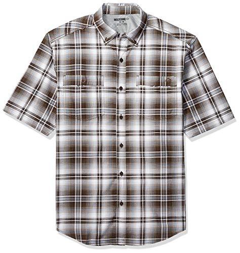 Wolverine Herren Springport Short Sleeve Shirt Work Utility Hemd, Brown Plaid, X-Groß (Brown Plaid Button)