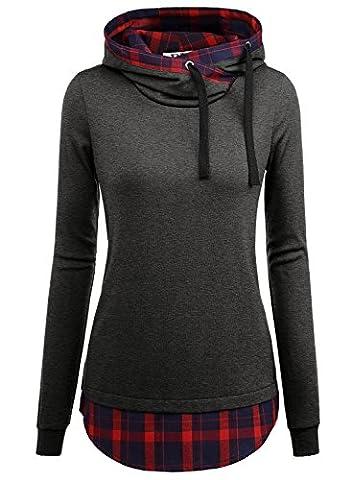 DJT Femme Sweat-shirt longue A Capuche 2 en 1 a Carreaux Tunique Gris fonce L
