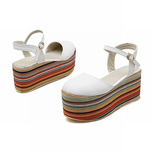 Mee Shoes Damen modern bequem reizvoll Schnalle Geschlossen Slingback Durchgängiges Plateau Plateauschuhe Weiß