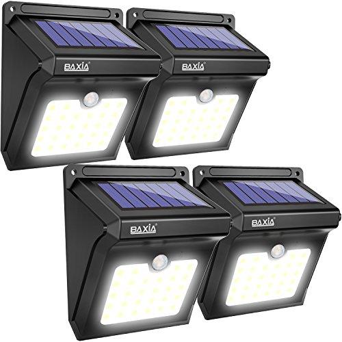 BAXiA Focos Solares Exterior, 28 LED Luz Solar Jardín, Luces de Exterior con Sensor de Seguridad por Movimiento Inalámbricas y con Batería Solar para Muros Exteriores Jardines Patios Terrazas, 4 PACK
