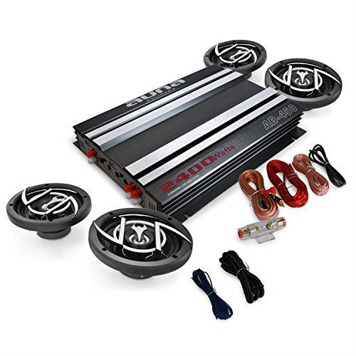 auna 4.0 Car HiFi Komplett-Set Platin Line 400 (2400 Watt 4-Kanal Endstufe, 4 x 16,5 cm Autolautsprecher, Kabelset)