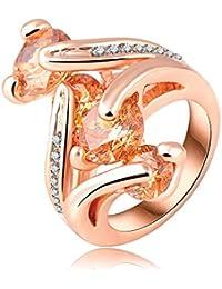 Soxid(TM) Plating anillos de compromiso agraciado de la manera el oro verdadero 18K con Austrian joyer¨ªa Cristales Moda Ri-HQ0223