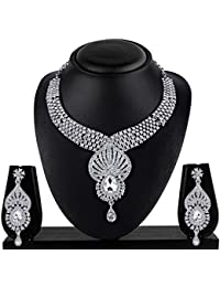 Vk Jewels Wedding Collection Silver Brass Alloy Necklace Set For Women Vknkz1025S