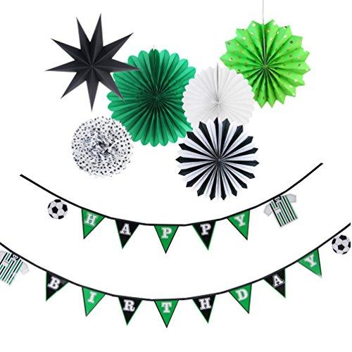 SUNBEAUTY Fußball Party Happy Birthday Girlande Grün Kindergeburtstag Dekoration