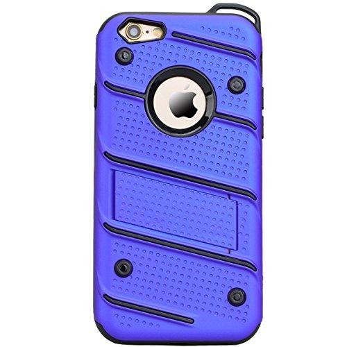 Case Cover Duplice Ibrido per iPhone 7 (4.7 pollici), HB-Int 3 in 1 Design PC + Silicone Grande Difensore Custodia Combo Duro Morbido Cases Covers [Completa Design & Anti-Graffio] - Massima Protezione Blu