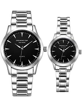 Valentinstag Silber Edelstahl his und Hers Paar Handgelenk Uhren für Paar schwarz Set von 2