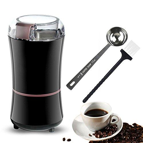Mini Kaffeemühle (EVELTEK Elektrische Kaffeemühle, Mini Kaffeemühle für Kaffeebohnen, Nüsse,Gewürze Mit Kaffee Mess Scoop - Schwarz)