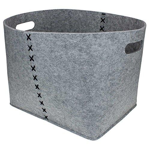 Hochwertige Filzkörbe oval hell-grau , Zeitungskorb stabil und robust. Verschiedene Größen oder im 3er Set. Allzwecktasche Filz, Aufbewahrung, Filz-Box (M ( 32x41 cm))