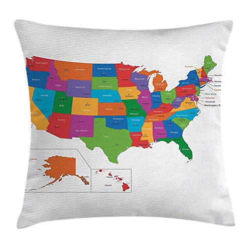 BHWYK Wanderlust Throw Pillow Cushion Cover, Colorful USA Map with States and Capital Cities Washington Florida Indiana Print, Decorative Square Accent Pillow Case, 18 X 18 inches, Multicolor