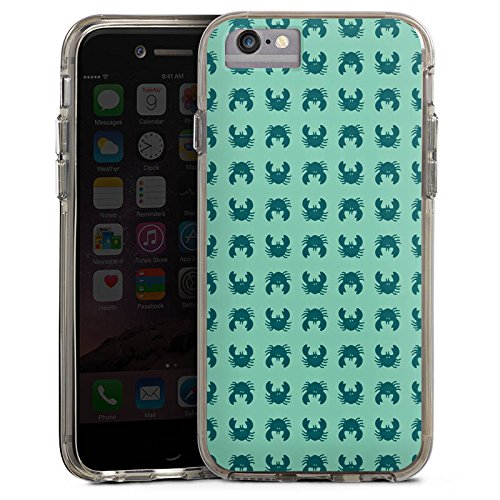 Apple iPhone 8 Bumper Hülle Bumper Case Glitzer Hülle Krabben Krebs Muster Bumper Case transparent grau