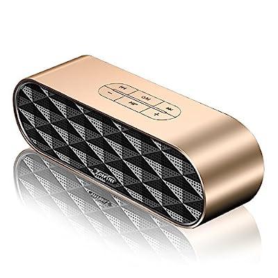 ZoeeTree S3 Enceinte Bluetooth Portable, Bluetooth 4.2 EDR, avec Son 360°, 10W Haut Parleur Stéréo avec Audio Haute Définition et Basse Améliorée, Mains Libres Appel TF Carte Slot-Gold par ZoeeTree