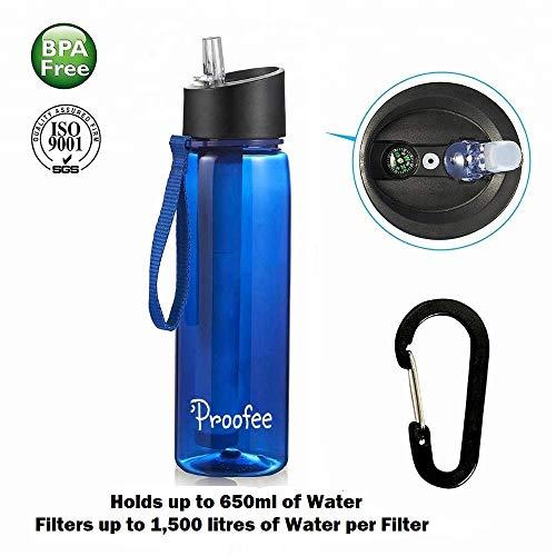 Proofee Wasserfilterflasche mit integriertem Filterhalm, entfernt Bakterien & Protozoen. Ideal für Wandern, Rucksackreisen, Camping, Reisen, Outdoor Sport, Notfallvorsorge mit integriertem Kompass (Leben Stroh Flasche Wasser Filter)