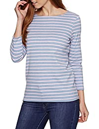Joules Ladies Grey Wide Stripe Harbour Jersey Top