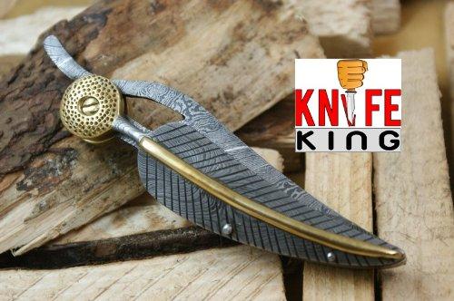 Custom Damast Klappmesser Taschenmesser Mit Lederetui. (Custom Messer)