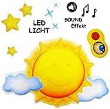 beruhigendes Nachtlicht mit Sound & Musik - ' lustige Sonne ' - dimmbar - per Fernbedienung steuerbar - 16 Melodien / Zirpen & Grillensound - Zeiteinstellung / Spieluhr - mit / ohne Licht - schnell & langsam spielbar - Baby / magisches Licht LED Schlummerlicht - Einschlafhilfe - Nachtlampe Lampe für Kinder / Babys - mit Batterie - Sterne leuchten im Dunkeln / Wandlicht / Babyspieluhr - Sternenhimmel - Beleuchtung Kinderzimmer