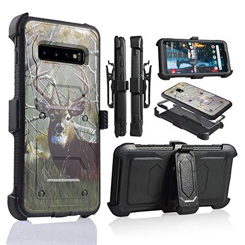 6goodeal Schutzhülle für Galaxy S10 Plus, Militärqualität, mit eingebautem Ständer, 6.3 inch, REH/Hirsch - Att Dual-sim-handy