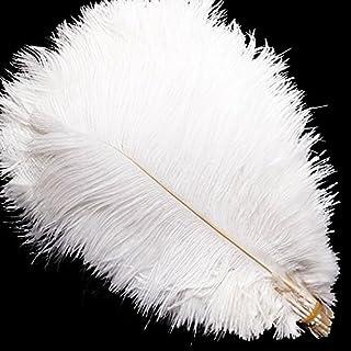 Vejaoo 10 plumes d'autruche naturel 55-60cm noir fetes decoration Naturelles Blanches Immaculée de Haute Qualité Déco de Mariage Soirée Maison